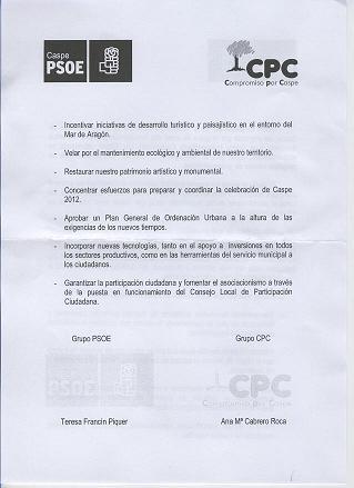 PROYECTO COMUN DE GOBERNALIDAD  AYUNTAMIENTO CASPE (PSOE-CPC)